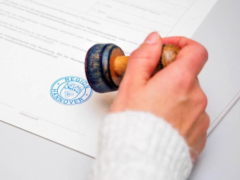 Stempleabdruck auf einem Formblatt